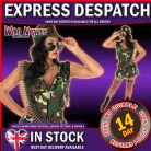 FANCY DRESS COSTUME LADIES ARMY GIRL MED 12-14